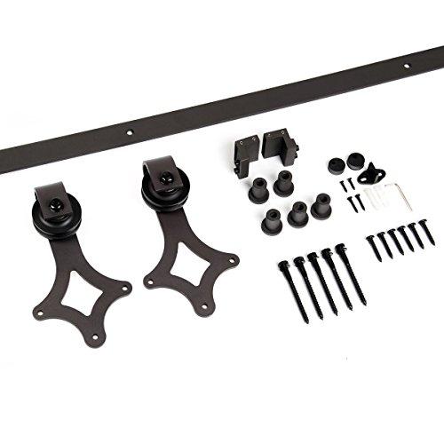 Unionline American 6.6 Ft Sliding Wood Barn Door Hardware Sliding Track Kit Steel Rhombic Diamond Style Dark Brown