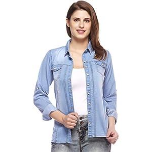 CROWN CREATION Women Solid Casual Denim Blue Shirt