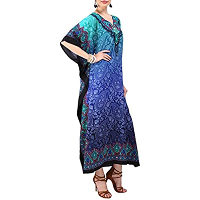 Miss Lavish London Kaftan Tunic One Size Cover Up Maxi Dresses Lougewear Embellished Kimono (103-Blue, One Size) at Women's Clothing store