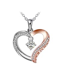J.Rosée Rose Gold Plated Necklace, White Cubic Zirconia Heart Pendant Necklace Fine Jewelry Gifts for Mom