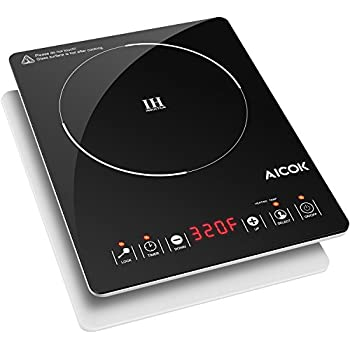 Aicok Portable Induction Cooktop 1500W, Countertop Burner with Power, Temperature and Timer, Black