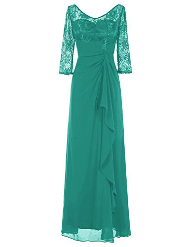Women's Chiffon Long Wedding Evening Prom Dress Mother of The Bride Dress Jade 12