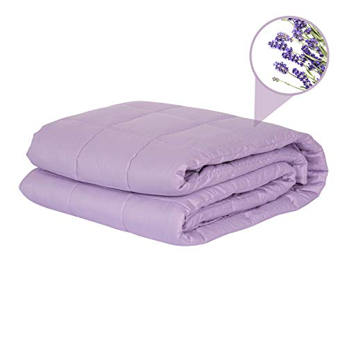 (Tranql Weighted Blanket 15lbs - Lavender Weighted Blanket Adult | Lavender Dried Flowers in Each Weighted Blanket for a Scent Like Lavender Essential Oil | Helps Reduce Stress and Anxiety)
