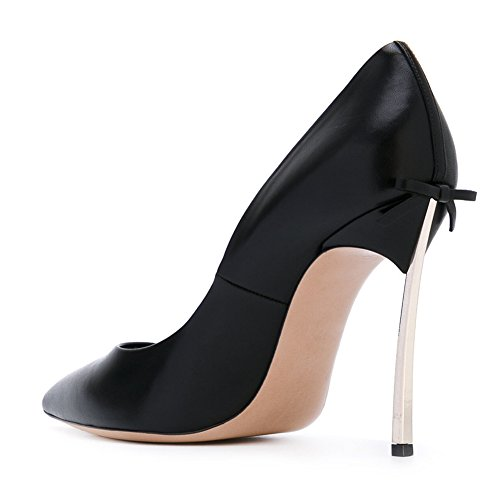 onlymaker Women's Sexy Pointed Toe Metal High Heels Stiletto With Bowknot Court Shoes Black-gold heel 5gCSMaSgW