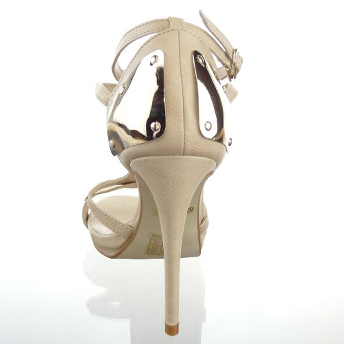 Kickly - damen Mode Schuhe Pumpe Sandalen metallisch Schuhabsatz Stiletto high heel - Beige T 40 - UK 6.5