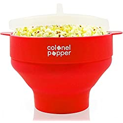 Colonel Popper Microwave Popcorn Popper Maker - Silicone Hot Air Pop Corn Bowl (Red)