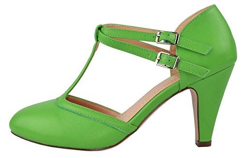 Chase   Chloe Womens Mary Jane T Strap Round Toe Pump 7 5 B M  Us Green