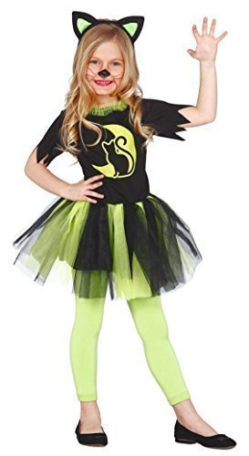 Girls Green Kitty Cat Feline Halloween Tutu Witch Fancy Dress Costume Outfit 3-12 Years (3-4 Years) -
