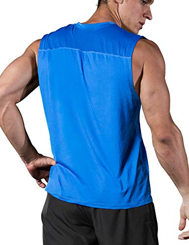 Roadbox Men's Performance Sleeveless Shirts Quick Dry Workout Athletic T Shirts Running, Basketball and Gym Tank Tops Royal Blue