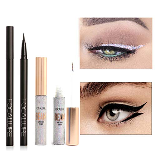 FOCALLURE 2PCS Gold Glitter and Black Liquid Eye Liner, Waterproof Make Up Long Lasting Liquid Eye liner Pen Skinny Shimmer Liquid Eyeliner Ultra-Fine Felt Tip Quick Drying Formula