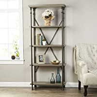 Etagere Bookcases with 5 Tier Shelves Made w/ Metal and Manifactured Wood in Northern Oak 70 H x 29.53 W x 15.51 D in.