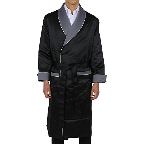 Silk Smoking Jacket - Duke & Digham Men's Long Heavyweight Satin Robe Black Grey Collar Medium
