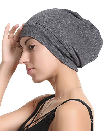 Slap Night Cap Sleep Hat - Grey Balck Women Organic Bamboo Cotton Satin Silk Satun Satin lined Bonnet Slouchy Summer Scarf Hair Cover Beanie For Women Men Lady Lightweight Light Thin Jersey Chemo