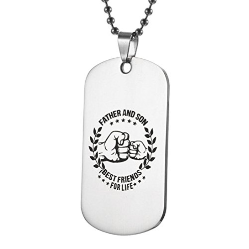 GBSELL To My Son Dog Tag Stainless Steel Silver Chain Necklace Fathers Day Gift Family for Son Daughter (D) (Mother's Day Packages)