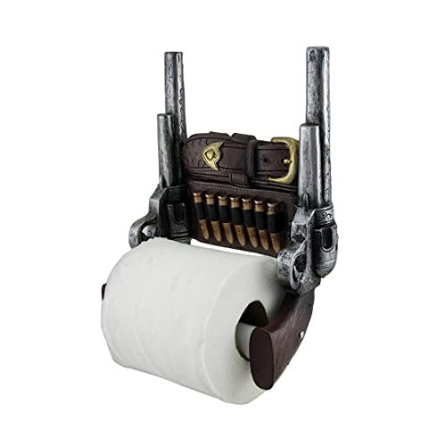 good Wild West Six Shooter Double Pistols Toilet Paper Holder by DWK | Western Gungliner Holster Home Decor and Gifts