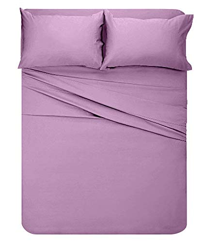 Lavish Linens 23 Inch Deep Attached Waterbed Sheet Set Pole Insert Brushed Microfiber 1800 Series - Wrinkle, Fade, Hypoallergenic - Solid Lavender King Size