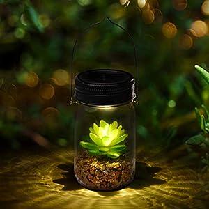 Solar Powered Lantern Mason Jar Solar Lights Artificial Succulent Hanging Glass Terrarium DIY Kit Glass Planter Solar LED For Outdoor Garden | Night Lamp For Bedroom Nursery Bathroom