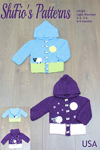 Crochet Pattern for Hooded Sheep Baby Jacket, 3 Sizes, 0-3 Months, 3-6 Months 6-9 Months CP289 (Sheep Pattern)