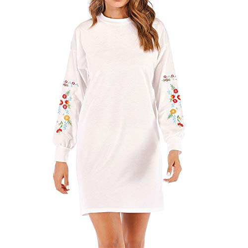 Toimothcn Women Halloween Pullover Dress Long Sleeve Floral Embroidery Sweater Tops Dresses Christmas (White,S) (Best Maternity Jeans 2019 Uk)