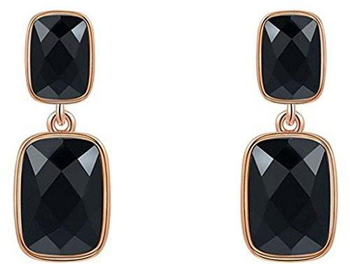 Gnzoe Women's Girl's 18k Gold Plated Stud Earrings Black Diamond Rectangular Tuba Rose Gold, - Voucher Macys
