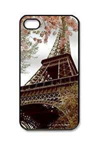 PC Hard Shell Eiffel Tower in Spring with Black Skin Edges for iPhone 4 4S Case