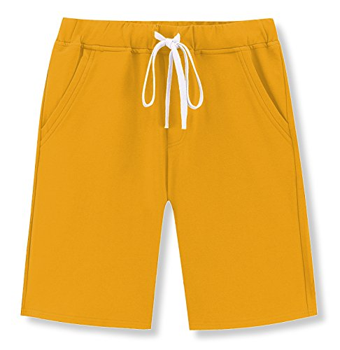 Janmid Men's Casual Classic Fit Cotton Elastic Jogger Gym Shorts (Yellow, ()
