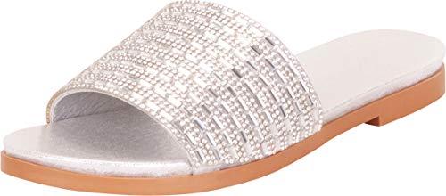 (Cambridge Select Women's Single Band Crystal Rhinestone Slip-On Flat Slide Sandal,9 B(M) US,Silver Glitter )
