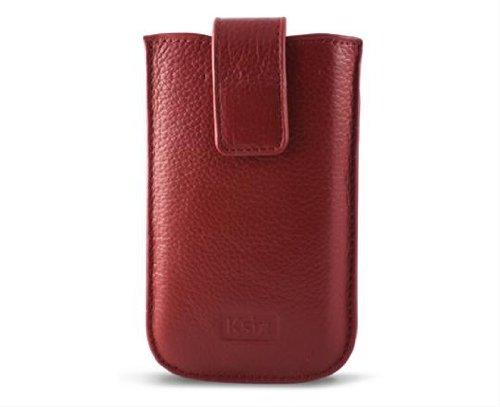 KSIX or Elektra Étui en cuir véritable pour iPhone 4/4S Rouge
