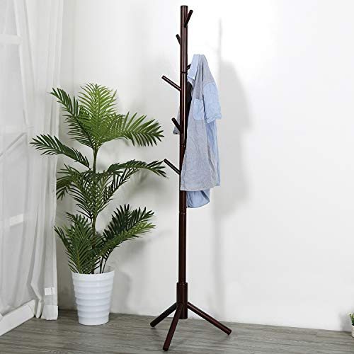 Vlush Sturdy Wooden Coat Rack Stand, Entryway Hall Tree Coat Tree with Solid Base for Hat,Clothes,Purse,Scarves,Handbags,Umbrella-(8 Hooks,Brown)