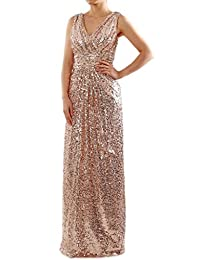 Firose Women's Plus V-Neck Long Sequin Ruched Bridesmaid Dress Formal Prom Gown