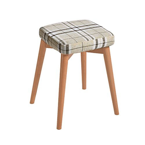 WENJUN Square Wooden Wood Support Upholstered Footstool Pouffe Chair Stool Fabric Cover 4 Legand Removable Linen Covers (Color : 3)