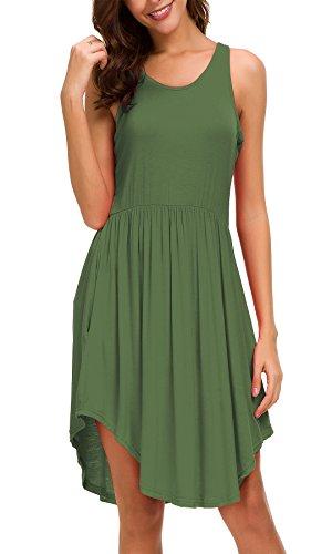 Women's Sleeveless Racerback Pleated Tunic Swing Dress Elastic Waist Band Flowy Curved Hem Tank Dress, Army Green, ()