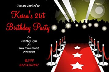 10 X Personalised Vip Red Carpet Party Invitations