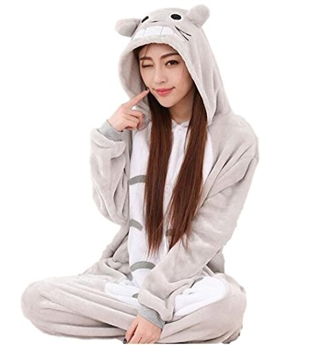 [SoftNLux Totoro Flannel Onesie Pajamas | Ultra Soft & Warm Sleepwear | Can Double as a Costume or Cosplay Lounge-wear | Perfect for Multiple Occasions: Cold Nights, Halloween, and Sleepovers!] (Totoro Costume Girl)