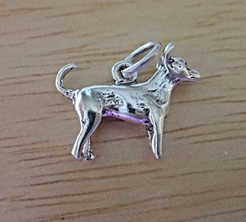 (Pendant Jewelry Making Sterling Silver Small 13x16mm 3D Chihuahua Rat Terrier Dog Charm)