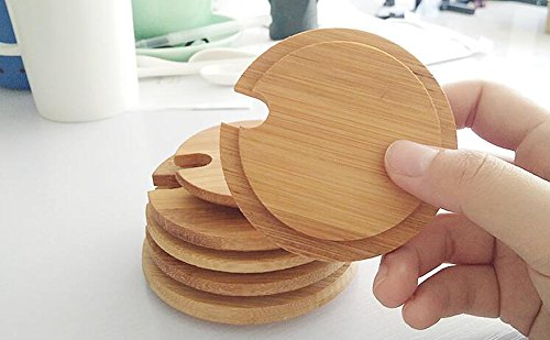 Dedoot 12PCS Wood Lids for Mason Jars, Wooden Mug Cover, Glass Jar Wood Drink Cup Lid with Spoon Hole (φ2.6IN) by Dedoot (Image #2)