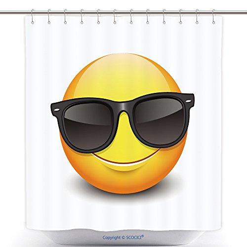 vanfan-Durable Shower Curtains Cute Smiling Emoticon Wearing Black Sunglasses Emoji Smiley Vector Illustration Polyester Bathroom Shower Curtain Set With Hooks(70 x 78 - Meme Sunglasses Emoji