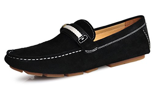 CRC FRT14C8012 Mens Fashion Casual Comfort Slip On High Quality Suede Leather Walking Driving Boat Loafers Doug Shoes Black