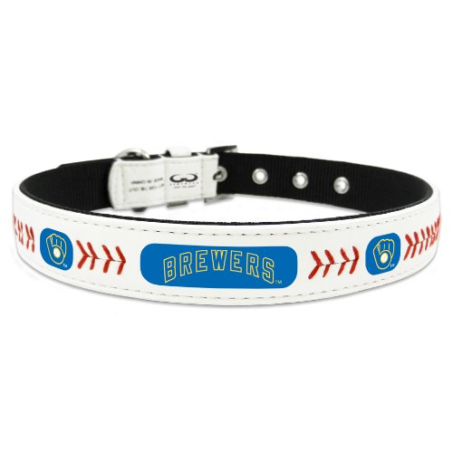 MLB Milwaukee Brewers Retro Classic Leather Baseball Collar, Large