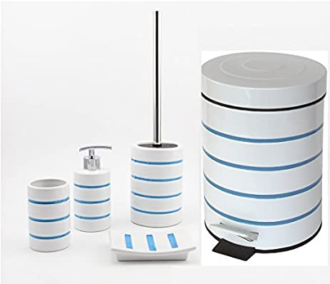 Beau Nautica Bathroom Accessories Set Tumbler Soap Dispenser Pedel Bin Toilet  Brush Holder Soap Dish By O2H