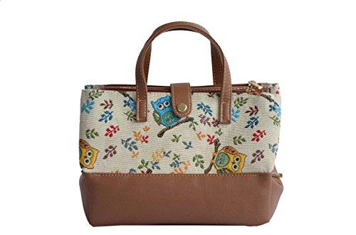 Borsa per cosmetici sacchetto della lavata alla moda in tessuto stile arazzo (Coccinelle) Gufo