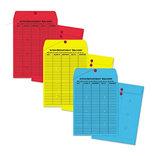 (Quality Park Colored Paper String & Button Interoffice Envelope, 10 x 13, Red, 100/Box)