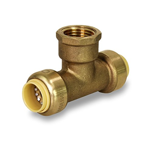 Pushlock UPCTF12 Tee x Female Pipe Fittings Push to Connect Pex Copper, CPVC, 1/2 Inch, Brass, 1/2
