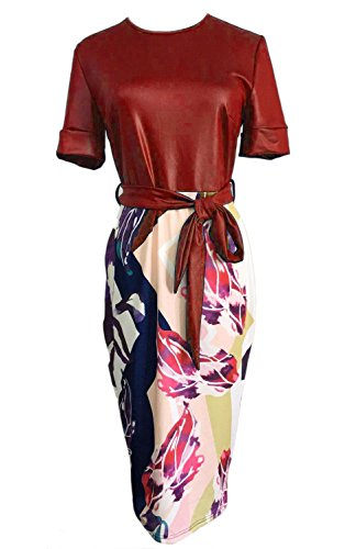 Janestone Women Tunic Knee Length Colorblock Business Bodycon Pencil Dress with Belt (L, Wine Red)