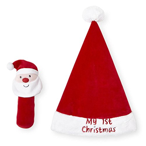 Koala Baby Red Santa Claus Hat and Rattle Set -