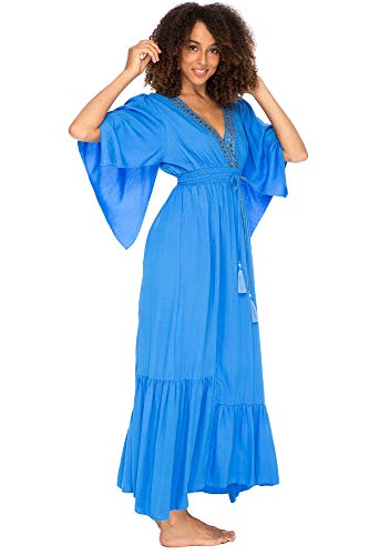 Back From Bali Womens Long Sundress Flowy Boho Beach Maxi Dress with Beaded Deep V Neck, Casual Sexy Summer Party Dress Blue X-Large ()