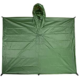 TOUGH-GRID Ripstop SilNylon Poncho and Emergency Shelter - Extra Long, Backpack Extension, Rust-Resistant Snaps, Hood, 6 Tie-Down Loops and Mesh Bag - Made in The USA. - Ultralite 30D - Forest Green