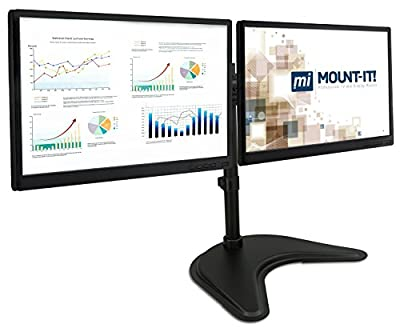 Mount-It! MI-1781 Dual Monitor Desk Stand LCD Mount, Adjustable, Free Standing Two Computer LED Displays Stand 20, 23, 24, 27 Inch Screen Sizes, Black