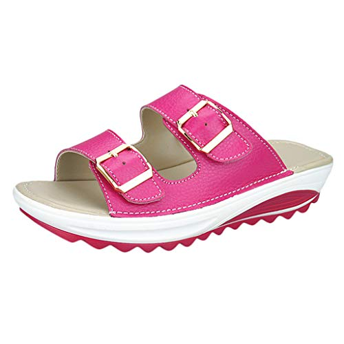 Respctful ♫♫ Women Wedge Sandals Casual Slides Comfy Leather Adjustable Buckle, Footbed Flats Sandals Hot Pink ()