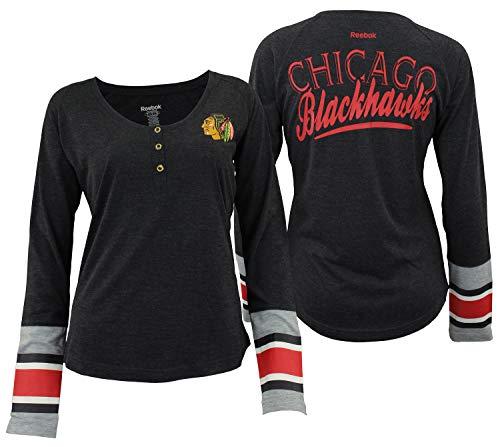 Chicago Blackhawks Reebok Womens Jersey Striped Henley Shirt (Large) ()